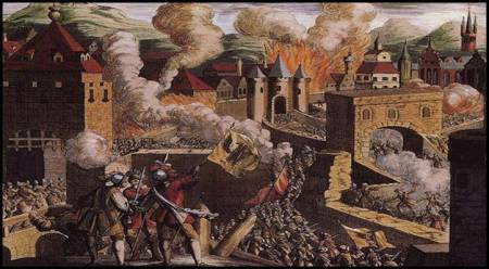 An artist's depiction of the Sack of Magdeburg.