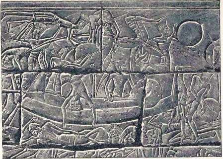 A relief sculpture from the Mortuary Temple of Ramesses III in Luxor depicts a warship of the Sea Peoples during the Battle of the Delta.