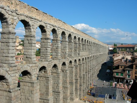 The Roman aqueduct in Segovia, Spain.