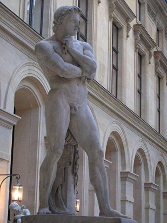 An 1830 marble sculpture of Spartacus by Denis Foyatier, now at the Louvre in Paris.
