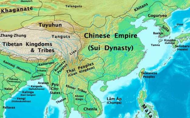 A map of the Sui Dynasty in China.
