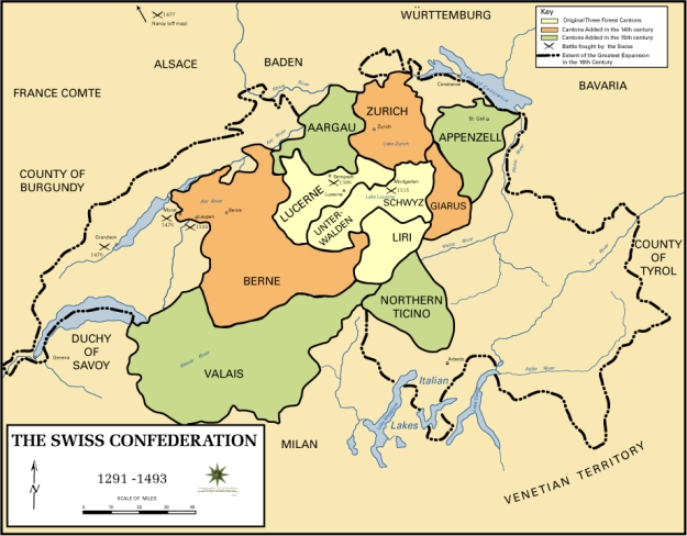 A map of the old Swiss Confederacy.