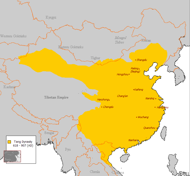 A map of the Tang Dynasty in China.