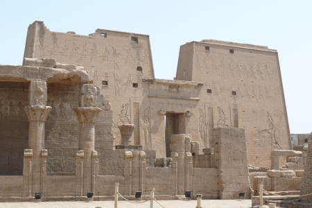 The ruins of the Temple of Horus at Edfu.