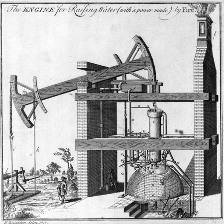 A sketch of Thomas Newcomen's steam engine.