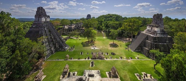A panoramic view of Tikal and its pyramids.