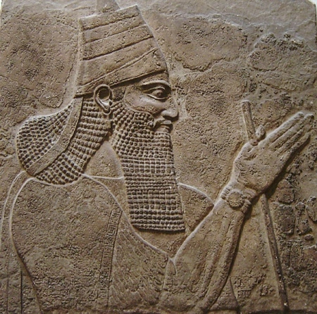 A relief sculpture of Tiglath-Pileser III from the walls of his palace, which is now in the British Museum in London.