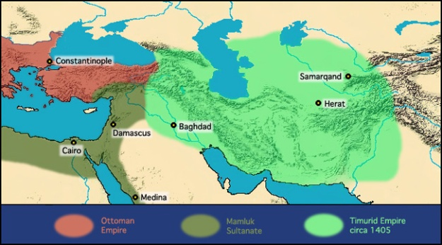 The Timurid Empire in about 1405.