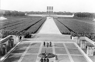 A still image from Leni Riefenstahl's Nazi propaganda film, Triumph of the Will.