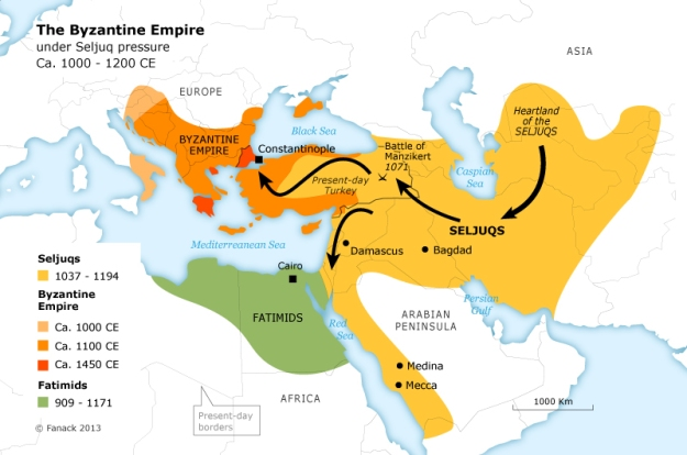 A map showing the growth of the Seljuk Empire.