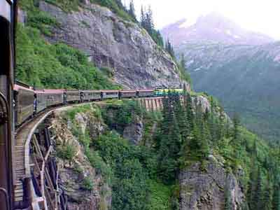A view of the White Pass and Yukon Route railway in Canada.