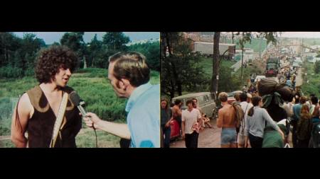 A split-screen image from Woodstock.