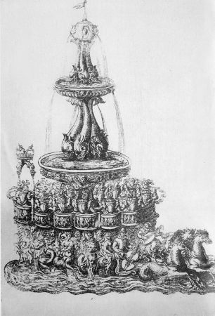 In the Ballet Comique de la Reine, a fountain chariot carried Queen Louise and her ladies and musicians. Engraving by Jacques Patin.