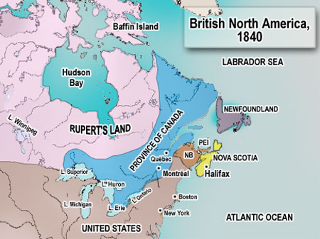 A map of Canada in 1840.