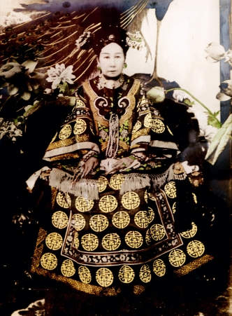 A tinted photograph of the Empress Dowager Cixi.