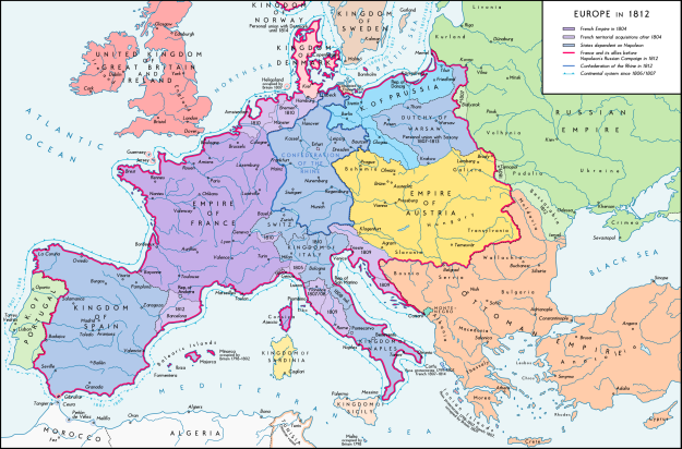 A map of Europe in 1812.