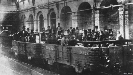 Chancellor of the Exchequer William Gladstone inspects the London Underground Railway with directors and engineers of the railway company shortly before it opens to the public.