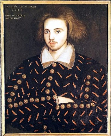 A 1585 portrait of a man believed to be playwright and poet Christopher Marlowe.