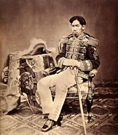 An 18973 photographic portrait of Meiji Emperor by Uchida Kyuichi.