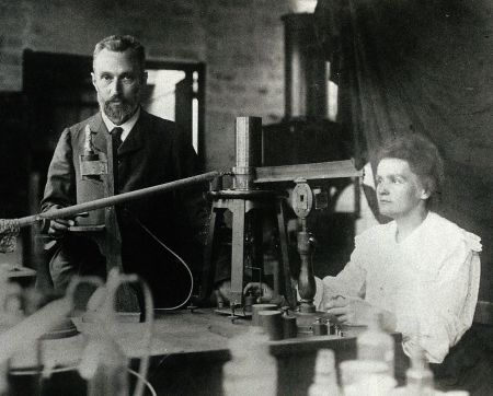 A 1904 photograph of Pierre and Marie Curie in their laboratory.