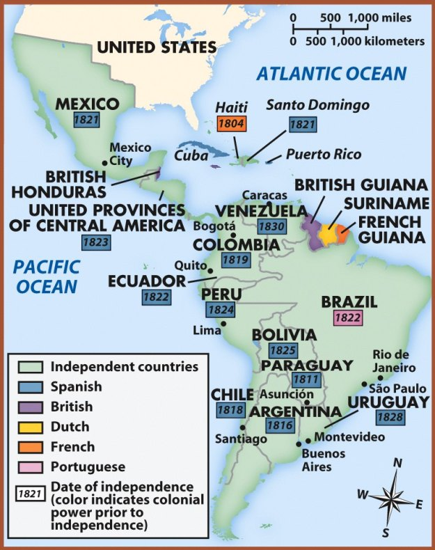 A map of South America showing the dates of independence from Spain.