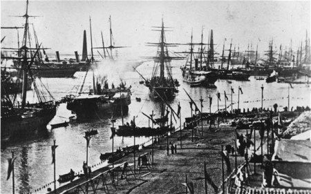 The opening of the Suez Canal.