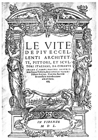 The cover of the 1550 First Edition of Vasari's Lives.