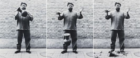 Ai Weiwei in the triptych 'Dropping a Han Dynasty Vase' (1995).