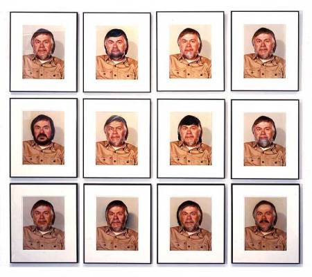 "John Baldessari's 'Portrait (Self) #1 as control + 11 Alterations by Retouching and Airbrushing"" (1974)."