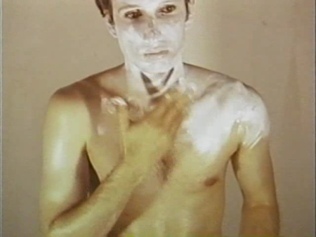 Bruce Nauman in a still photograph from the video Art Make-Up No. 1, White (1967). Copyright 2006 Bruce Nauman/Artist Rights Society (ARS), New York