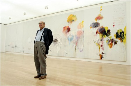 Cy Twombly stands in front of his 'Untitled (Say Goodbye Catullus, to the Shores of Asia Minor)' (1994).
