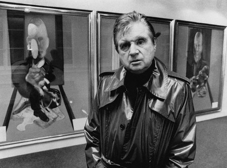 Francis Bacon in front of 'Triptych' (1976).