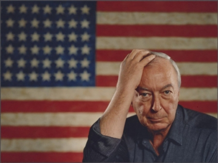 Jasper Johns with 'Flag' (1954-1955).