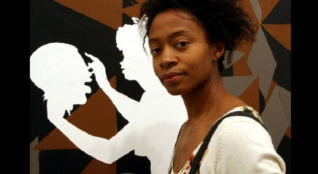 Kara Walker with her piece 'Authenticating the Artifact' (2007). AP Photo.