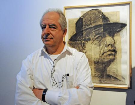 William Kentridge with his 'Self-Portrait' (1997).