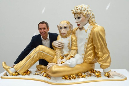Jeff Koons with Michael Jackson and Bubbles.