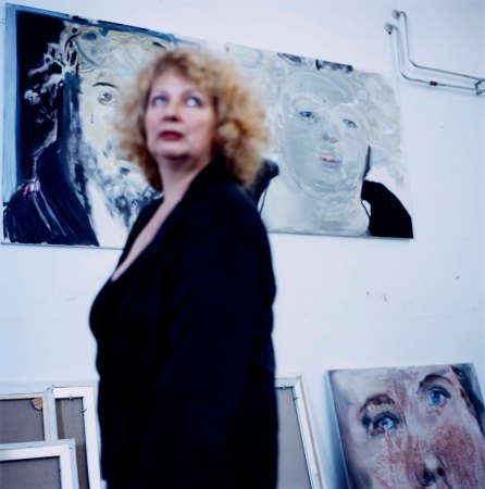 Marlene Dumas with 'Self-Portrait at Noon' (2008) and other paintings.