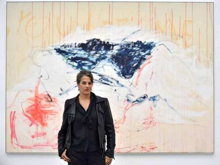 Tracey Emin with one of the works in her 2014 exhibition 'The Last Great Adventure is You.'