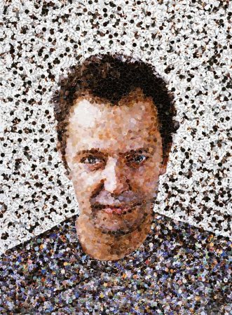 A Vic Muniz self-portrait made with pictures from magazines.