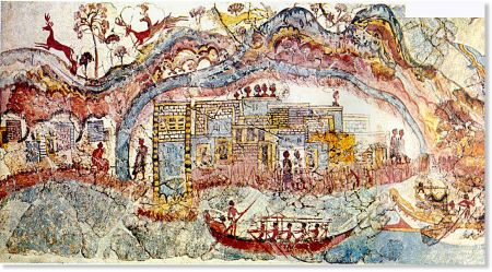A portion of a fresco from Akrotiri on the island of Thera (now Santorini, Greece).
