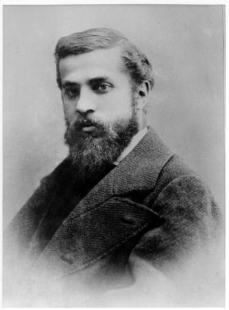 A photograph of Antoni Gaudi.