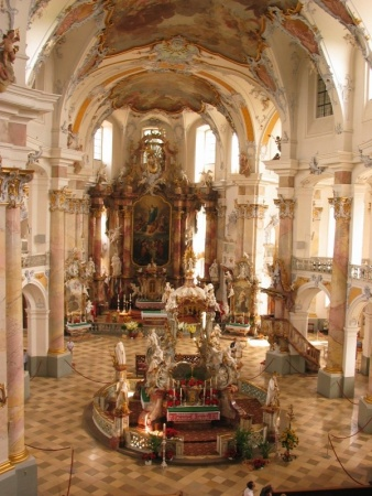 An interior view of the Basilika Vierzehnheiligen, by Balthasar Neumann, in Bad Staffelstein, Germany.