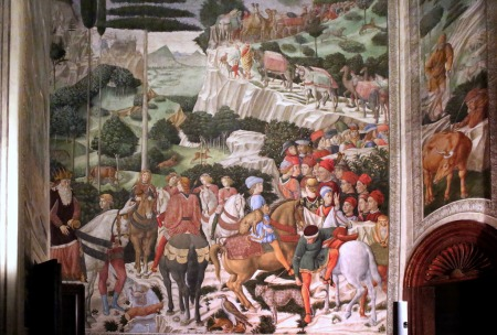 A portion of Benozzo Gozzoli's Procession of the Magi fresco in the Palazzo Medici-Riccardi, in Florence, Italy.