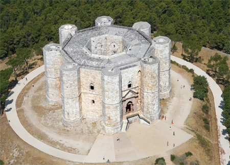 An aerial view of Castel del Monte in Apulia, Spain.