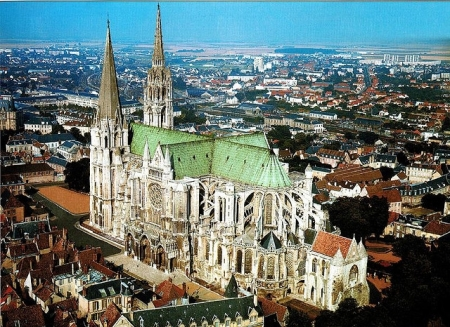 An aerial view of Chartres Cathedral in Chartres, France.