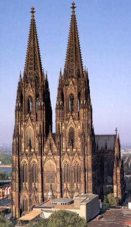 The facade of Cologne Cathedral, in Cologne, Germany.