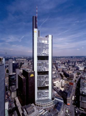 Commerzbank Headquarters, designed by Norman Foster, in Frankfurt, Germany.