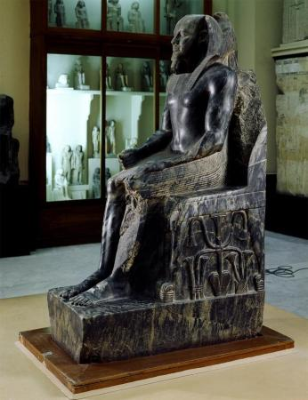 The Statue of Chephren in the Egyptian Museum in Cairo, Egypt.