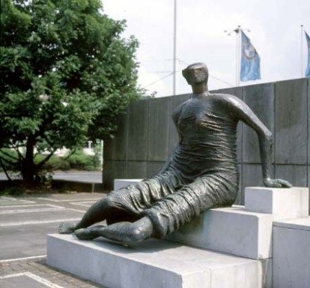 Draped Seated Woman, by Henry Moore, is located at the Wuppertaler Swimming Pool in Wuppertal, Germany.