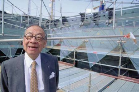 A photograph of I.M. Pei stands at the construction site for the Louvre Pyramid, by Owen Frankel.